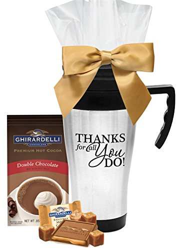 Thank You Tumbler with Ghirardelli Cocoa & Chocolate Square/Holiday Thank You Cocoa & Chocolate Tumbler/Travel Mug Gift/Teacher Appreciation Gift/Corporate Thank You Travel Mugs/Nurse's Day Gifts
