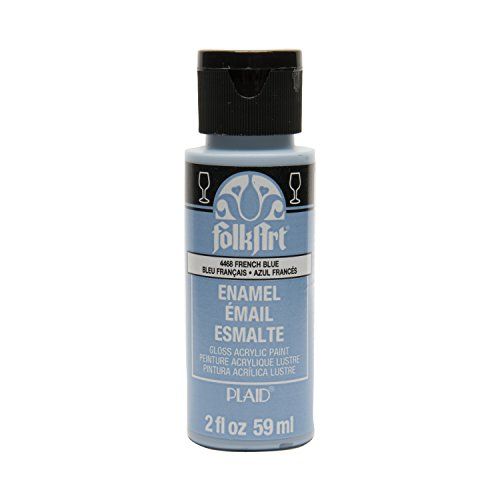 FolkArt Enamel Glass & Ceramic Paint in Assorted Colors (2 oz), 4468, French Blue