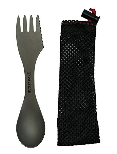 "(Valtcan Titanium ""Food Shovel"" Spoon Fork & Knife Combo Utensils Spork 3-in-1 Fork Spoon Knife Essential Camping Outdoor Flatware Cookware Improved Version 2.0)"