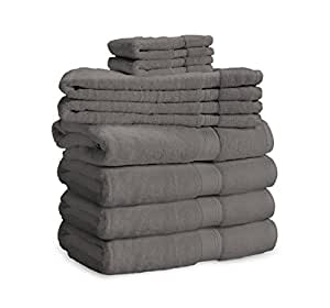 900 GSM 8 Piece Towel Set - Luxurious 100% Long Staple Cotton, Heavy Weight & Absorbent - 4 Large Bath Towels 30x55, 2 Hand Towels 20x30, 2 Face Towels 13x13