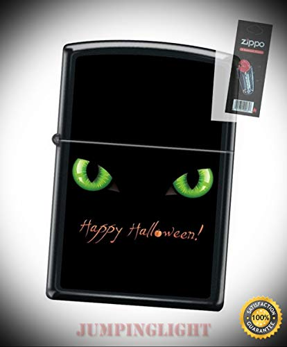 218 Happy Halloween gree Eyes Black cat Lighter with Flint Pack - Premium Lighter Fluid (Comes Unfilled) - Made in USA!