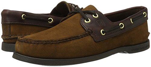 Sperry Top-Sider Men's Authentic 2-Eye Boat Shoe, Brown/Buck Brown, 13 S US