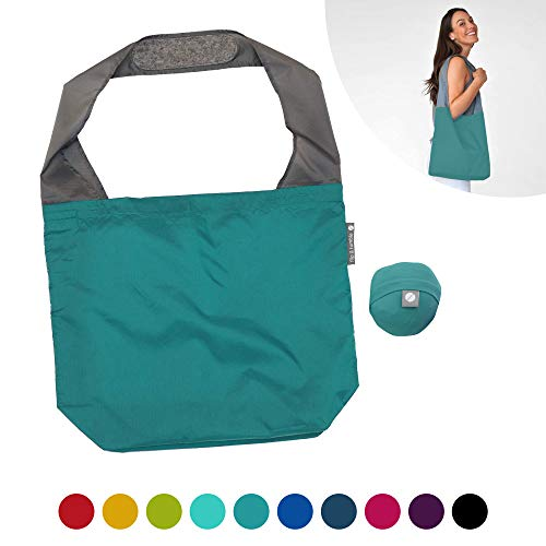 FLIP AND TUMBLE 24-7 Premium Reusable Grocery Bag - Perfect Shopping Bag, Beach Bag, Travel Bag (Peacock)