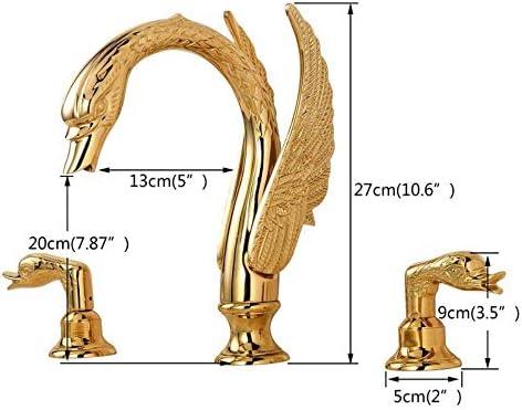 CHENBIN-BB Soildコッパーゴールド仕上げの浴室の蛇口の高級ゴールデンスワンの形盆地タップデュアルハンドルデッキマウント