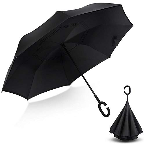 Stripes Self Stick - Inverted Umbrella Oversize 62inch UV Protection Rain and Wind Resistant Umbrella