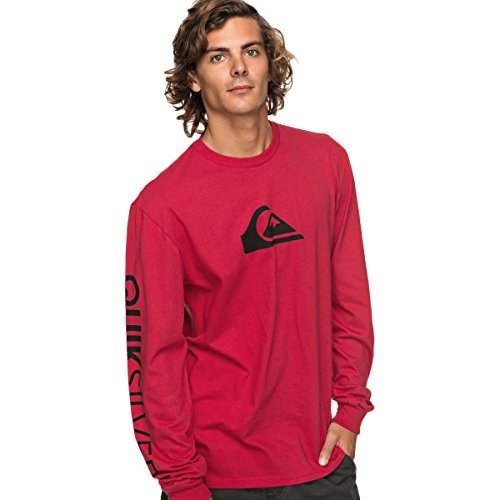 Quiksilver Men's Mountain and Wave Logo Long Sleeve, Chili Pepper, (Quiksilver Mens Mountain Wave)