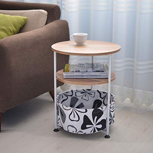 (Sodoop Bedroom Bedside Table, Three-Tier Round Side Table End Table Table Industrial Coffee Table Nightstand with Fabric Storage Basket Furniture Couch End Living Room and Office)