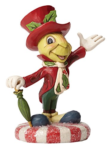 "Disney Traditions by Jim Shore Christmas Jiminy Cricket on Peppermint Stone Resin Figurine, 4.75"" (Resin Cricket)"