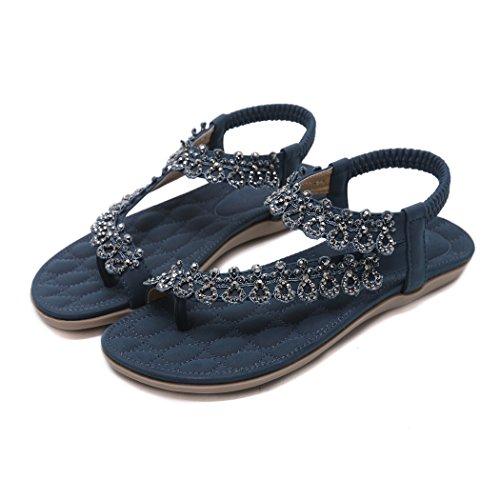 pour Bohème Sandales D'été Dames de Ruiren Shaussures Plates Fleur Bleu de de Femmes des gvTqIxwqH