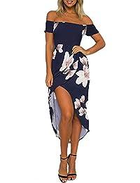 NANYUAYA Womens Off The Shoulder Ruffle High Low Maxi Casual Beach Dress Side Slit