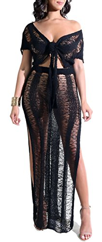 - Chicmay Women Hollow Out Knitted See Through 2 Piece Outfits Crop Top High Slit Party Long Maxi Dress Bikini Cover up