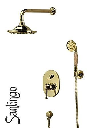 nostalgie retro unterputz dusche set duschset armatur kopfbrause handbrause gold sanlingo - Unterputz Armatur Dusche Wechseln
