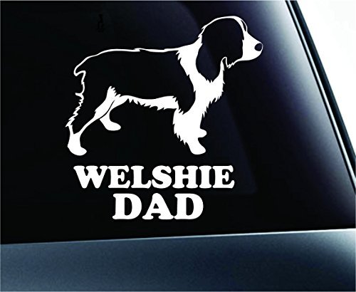 Welsh Springer Spaniel Dad Dog Symbol Decal Paw Print Dog Puppy Pet Family Breed Love Car Truck Sticker Window (White), Decal Sticker Vinyl Car Home Truck Window - Spaniel Paw Print Dogs