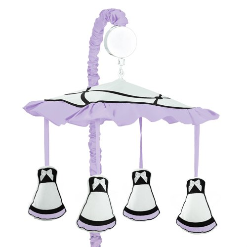 Sweet Jojo Designs Purple, Black and White Princess Musical Baby Crib Mobile
