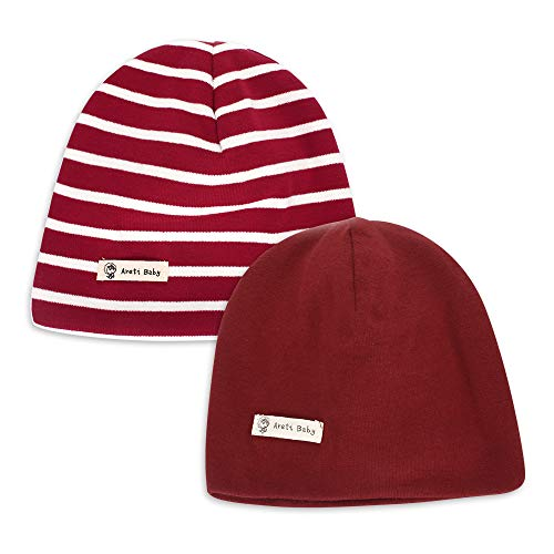 MK MATT KEELY Infant Soft Hat Toddler Cotton Hat Kids Boys Casual Beanie Hat for 3-12 Months Baby 2-Pack Wine Red