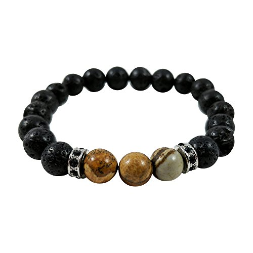 The Vibrant Life Mana Vibes Black Lava Rock and Picture Jasper Essential Oil Beaded Bracelet, Essential Oil Jewelry 8mm Bead Size, Yoga ()
