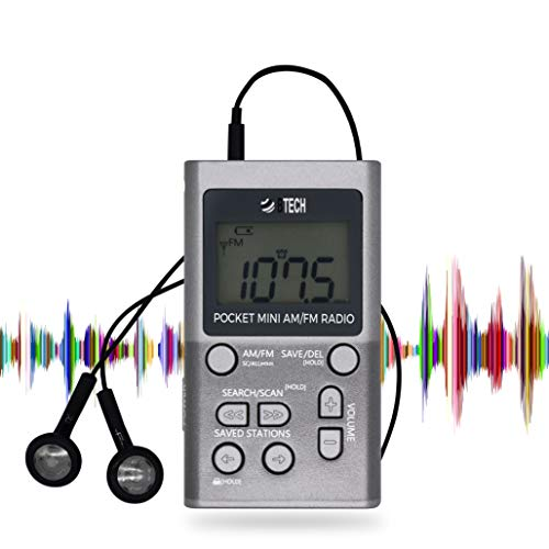 BTECH MPR-AF1 AM FM Portable Radio with Two Types of Stereo Headphones, Clock, Great Reception and Long Battery Life, Mini Pocket Radio (Silver)