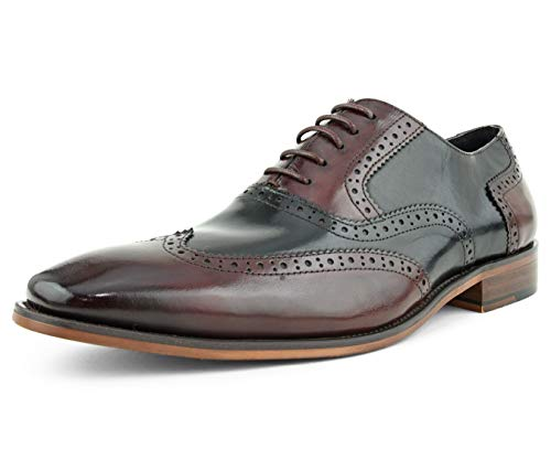 (Asher Green Mens Two Tone Genuine Calf Leather Wingtip Spectator Oxford Dress Shoe, Low-Top or High-Top Burgundy)