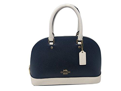 Coach Womens Mini Sierra Satchel Handbag, Crossgrain Leather, Detachable Crossbody Strap (Mini, Midnight Chalk)