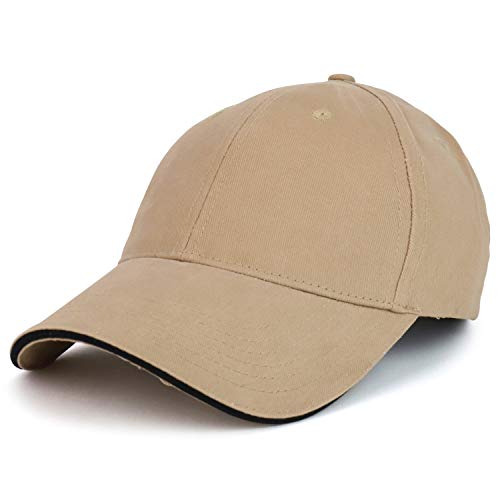Armycrew Made in USA Structured Brushed Cotton Sandwich Bill Baseball Cap - Tan Black