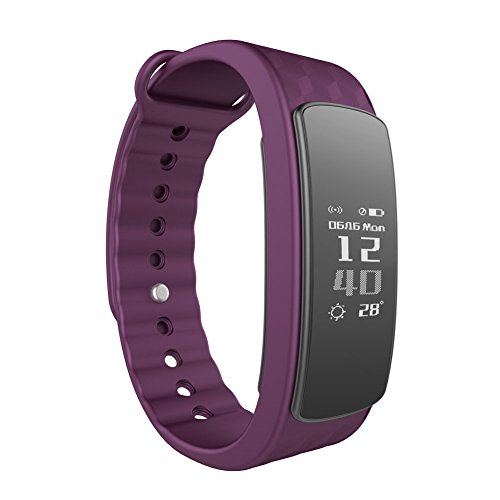 Smart Fitness Tracker LINTELEK IP67 Waterproof Bluetooth 4.0 - Activity Tracker Health Sleep Monitor Pedometer with Call MSM Reminder for Android and IOS - Purple