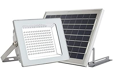 MicroSolar - Lithium Battery - 120 LED IP65 Solar Flood Light --- Automatically Working from Dusk to Dawn at Good Sunshine - Including 16.4 Feet Wire // Wall mounted or Ground Mounted // FL4-B