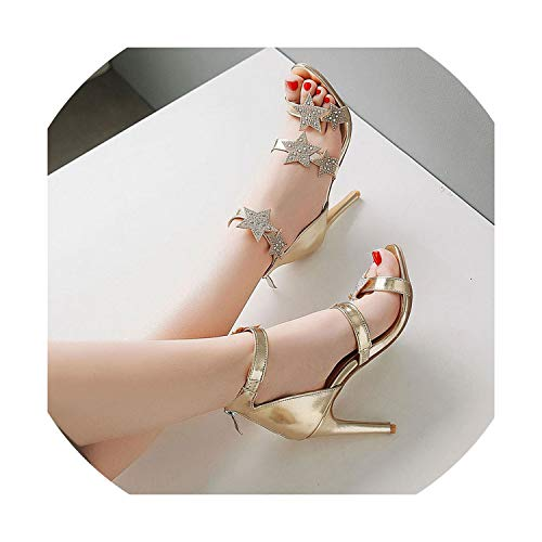 - Gold Silver Shoes Woman Summer New Sandalias Feminino Mujer Crystal Gladiator Shoes Woman,Gold,7