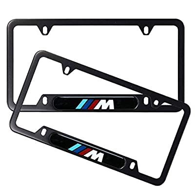 2pcs Newest Matte Aluminum Alloy M Logo License Plate Frame, with Screw Caps Cover Set Suit,Applicable to US Standard car License Frame,for BMW M.: Automotive