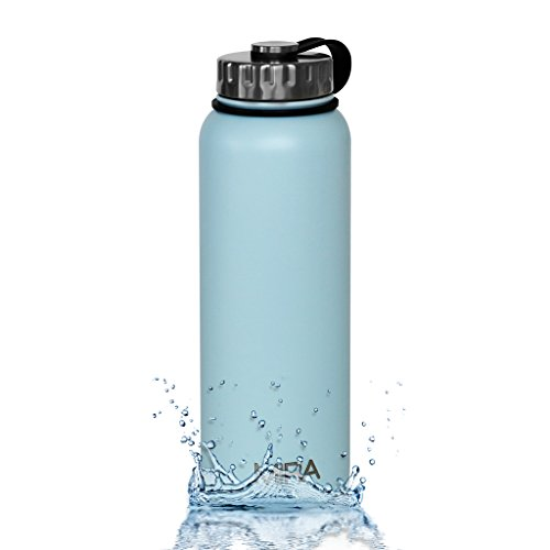 MIRA 40 oz Stainless Steel Vacuum Insulated Wide Mouth Water Bottle | Thermos Keeps Cold for 24 hours, Hot for 12 hours | Double Walled Powder Coated Travel Flask | Light Blue