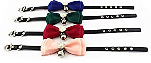 Adjustable Pet Dog Cat Leather Buckle Collar Fashion Bow With Little Bell Style