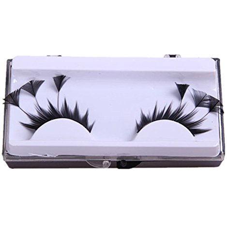 2 Pairs Exaggerate Feather False Eyelashes Fun Eye Lashes For Halloween Party Artistic Eye Tattoos Feather Tip for Dance Costume Party Black