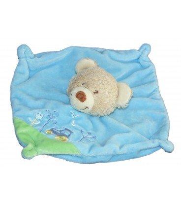Doudou plana cuadrado oso azul Tex Baby Carrefour - Tractor bordado: Amazon.es: Bebé