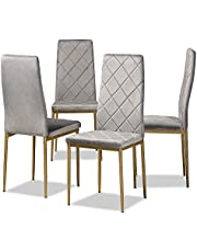 Baxton Studio Blaise Modern Luxe and Glam Grey Velvet Fabric Upholstered and Gold Finished Metal 4-Piece Dining Chair Set