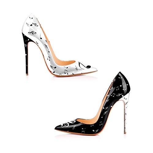 Printing Black Pumps YCG white on Red Slip High Heels Blood Women's Shoes WwqtYqOv