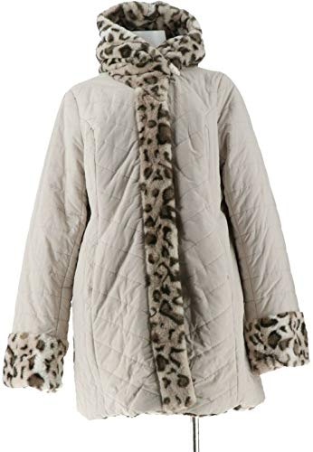 Dennis Basso Water Resist Puffer Reversible Coat Snow Lynx XS New A270719 from Dennis Basso