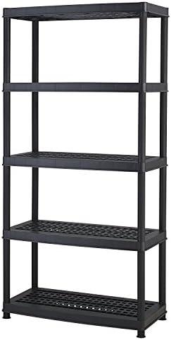 Keter Resin 5-Tier Freestanding Multipurpose Shelf Display Rack for Basement Kitchen and Garage Storage Shelving and Organization Black