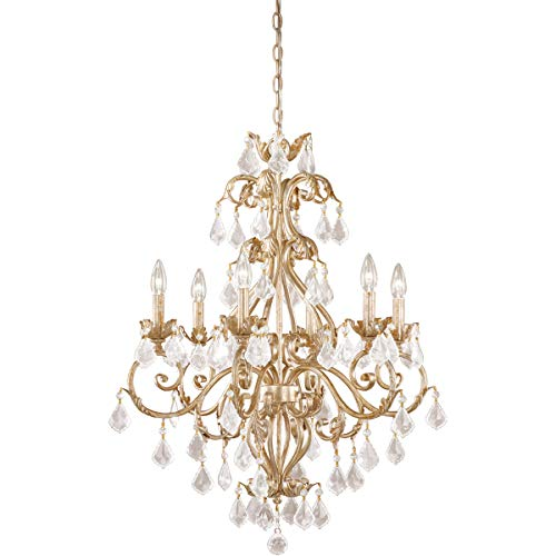 """Chandeliers 6 Light Fixtures with Gilded White Gold Finish Steel Material Candelabra 27"""" 360 Watts"""