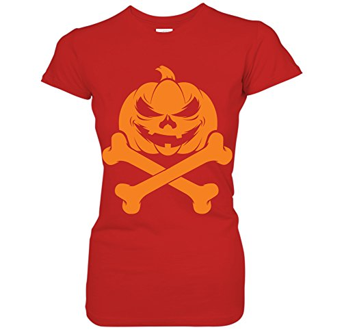 Jack O Lantern Pumpkin Skull & Crossbones Happy Halloween Juniors T-Shirt (XL Red) -