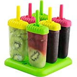 Popsicle Ice Mold Maker Set - 6 Pack BPA Free Reusable Ice Cream DIY Pop Molds Holders With Tray & Sticks Popsicles Maker Fun for Kids and Adults Great Gift for Party Indoor & Outdoor Assorted
