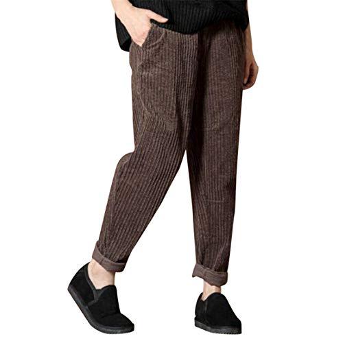 Mikey Store Women Casual Loose Solid Elastic Waist Harem Corduroy Pocket Pants