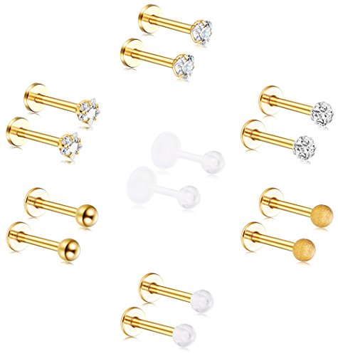 ORAZIO 14PCS 16G Stainless Steel Labret Studs Monroe Lip Rings Cartilage Tragus Nail Helix Earring Barbell Piercing Jewelry