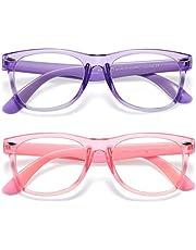 DYLB Kids Blue Light Blocking Glasses 2 Pack, Computer Gaming Glasses for Kids Girls Boys Age 3-10,Anti Blue Light & Headache