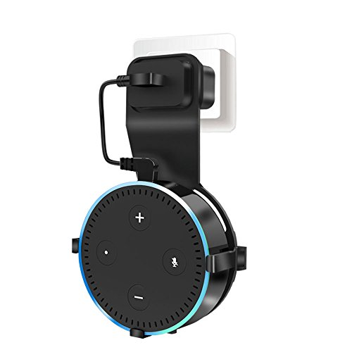 Wall Mount Hanger Stand for Echo Dot 2nd Generation, Onlier Hanger Holder Space-Saving Solution for Smart Speaker without Messy wire and SCrew (Including Charger Cable)