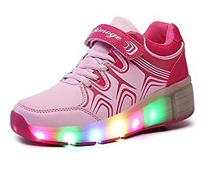 Mädchen Jungen Kinder LED Leuchtet Sneakers mit Einem Cooly Roller Skates...