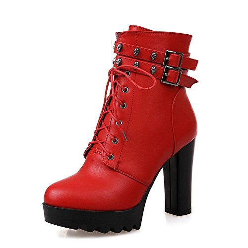 L@YC Damenschuhe Kunstleder Herbst Winter Stiefel Chunky Heel Runde Kappe Mitte Kalb Schnalle für Freizeitkleidung Red