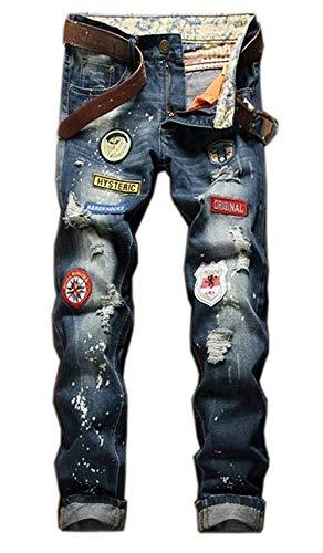 Denim De Algodón De Los Hombres La De Skinny Divisa Recta Ocio Delgado Jeans Lavado A La Moda Bordado Jeringa Tinta Apenado Retro Marea Pantalones De La Marca Jeans Blau