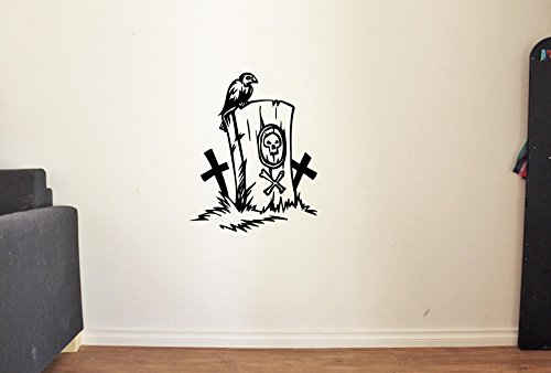 Halloween Headstone Sayings (Headstone with Crow Vinyl Wall Decals Halloween Decor Stickers Vinyl Mural)