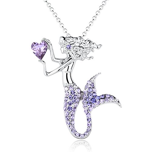 Fashion Mermaid Birthstone Necklace Jewelry White Gold Plated Austrian Crystal Magic Pendant Gift (Austrian Crystal Cross)