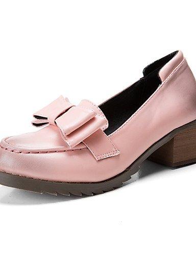 ZQ Zapatos de mujer - Tacón Robusto - Punta Redonda / Punta Cerrada - Mocasines - Casual - Semicuero - Rosa / Beige , pink-us8 / eu39 / uk6 / cn39 , pink-us8 / eu39 / uk6 / cn39 pink-us7.5 / eu38 / uk5.5 / cn38