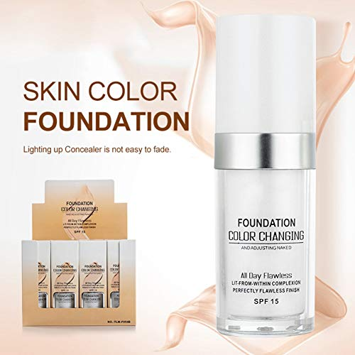 Cawbing Colour Changing Liquid Foundation Primer,Non-irritating Concealer Cover Makeup Base Nude Face Liquid Cover Concealer,Natural,Sunscreen,Non-greasy,Non-marking,Long lasting